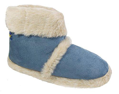 Hausschuhe On Stiefel Warm gefüttert Denim Damen Coolers Slip flauschigen Blue Damen CtxSRvTWwq