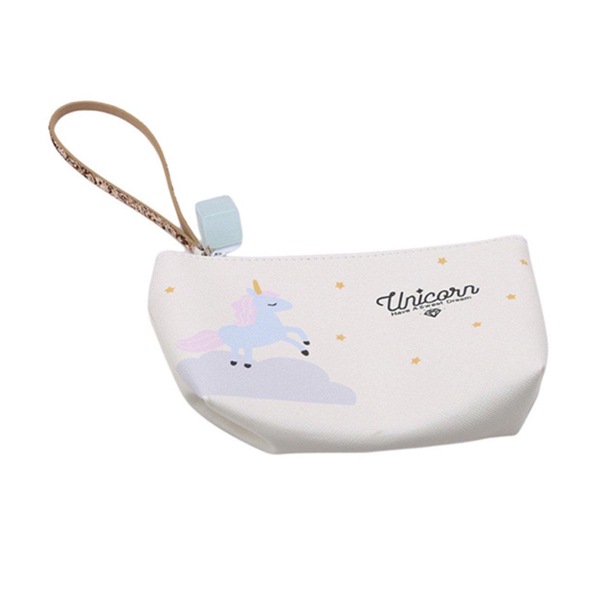 EJY Licorne Portable Sac de Rangement Imperméable, Sac à Cosmétiques Sac à main Porte-monnaie (Bleu ciel)