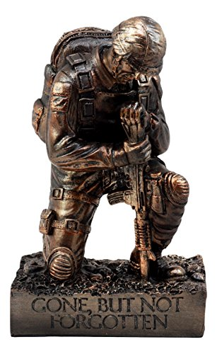 "Ebros Gift Battlefield Kneeling Soldier Statue 8.5"" H Honor & Valor Military Combat Unit Brother in Arms Figurine Gone But Not Forgotten"