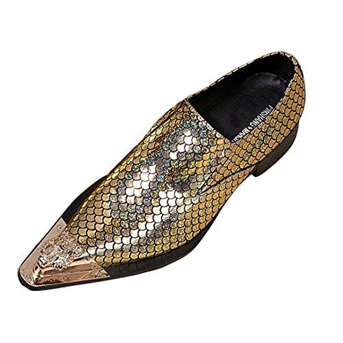 Gold MSFS Punta Bilancia Da Mocassini Uomo Scarpe Da S Di Formale Partito Metallo Eleganti BBOqA