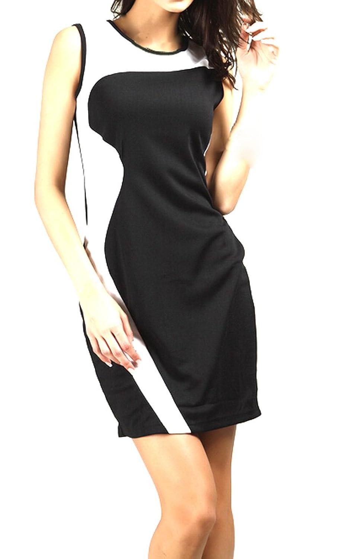 XQS Womens Classy Bodycon Splice Cocktail Dress