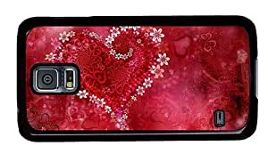 Hipster carry Samsung Galaxy S5 Case heart flowers hd PC Black for Samsung S5