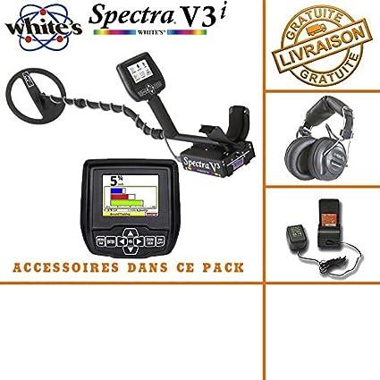 Whites Spectra V3i - Detector de metales, auricular inalámbrico, pilas y cargador