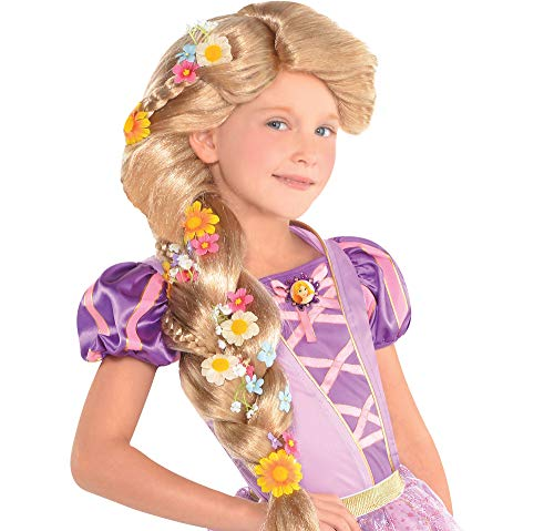 SUIT YOURSELF Tangled Rapunzel Wig for Children, One Size, Features a Long, Thick Braid Adorned with Multicolor Flowers