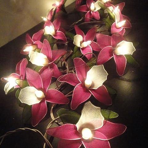 Thai Vintage Handmade 20 Pink Magenta Orchid Flower Fairy String Lights Home Decor 3.5m. - Ultra Pro Mini Helmet