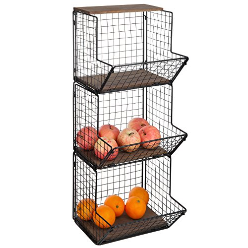 (3-Tier Black Metal Wire Wall-Mounted Produce Baskets & Storage Bins with Wood Bases)