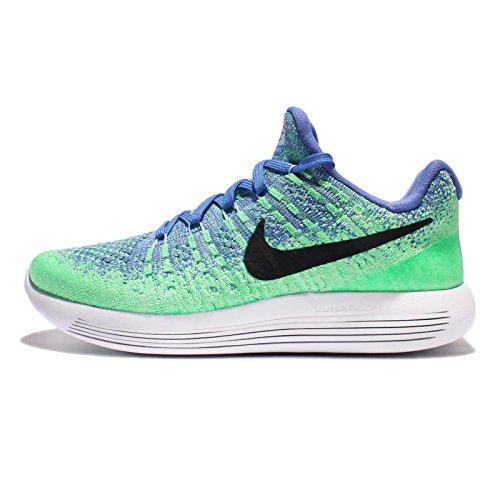(NIKE Wome'ns Lunarepic Low Flyknit 2 Running Shoes (8 B(M) US, Medium Blue/Black-Aluminum-Electro Green))