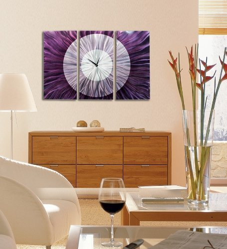 Contemporary Abstract Silver and Purple Metallic 3d Wall Clock -