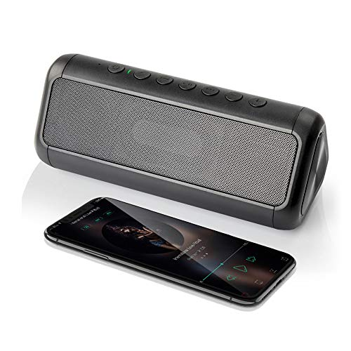(Solar Bluetooth Speaker12W, Friengood 50+ Hours Playtime Portable IPX6 Waterproof Wireless Bluetooth 4.2 Speakers with Dual Driver, Built-in Mic and 5000mAh Power Bank for Outdoor Activities (Black))