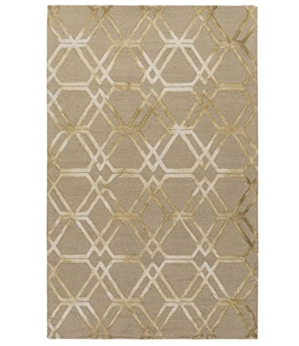 Diva At Home 2' x 3' Falling Diamonds Bay Leaf Brown and Sand White Hand Hooked Wool Area Throw Rug ()