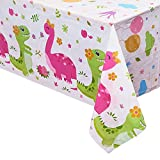 "WERNNSAI Dinosaur Printed Tablecloth - 2 PCS 86.6"" x 52"" Rectangular Plastic Disposable Table Covers Birthday Baby Shower Tea Party Dinosaur Party Supplies for Kids Girls"