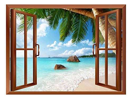 Vista Wall Frame - wall26 - ANSE Lazio Beach on Praslin Island in Seychelles Removable Wall Sticker/Wall Mural - 36