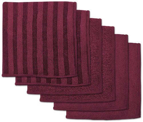 DII Microfiber Scratch Free Scrubber Cleaning Dishcloth (12x12, Set of 6) with Scrub, Scour, and Polish Side, Perfect for Kitchens, Dishes, Car, Dusting, Drying Rags - Wine