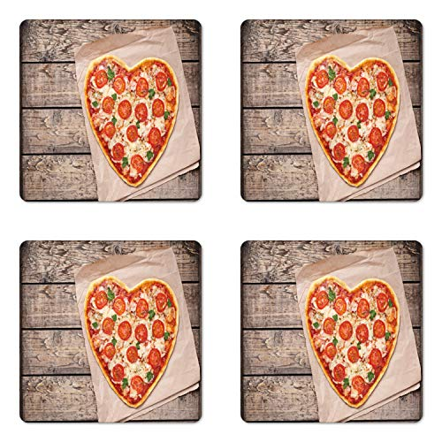 - Lunarable Pizza Coaster Set of 4, Photo of Heart Shaped Cultural Italian Food with Tomato and Cheese, Square Hardboard Gloss Coasters for Drinks, Multicolor