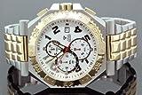 Aqua Master Mens Swiss Made Two Tone Sports Diamond Watch 0.12ctw