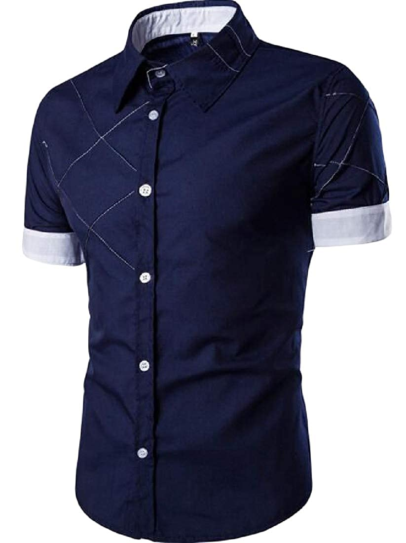 Sweatwater Men Slim Fit Color Block Lapel Button Up Short Sleeve Pleated Shirts