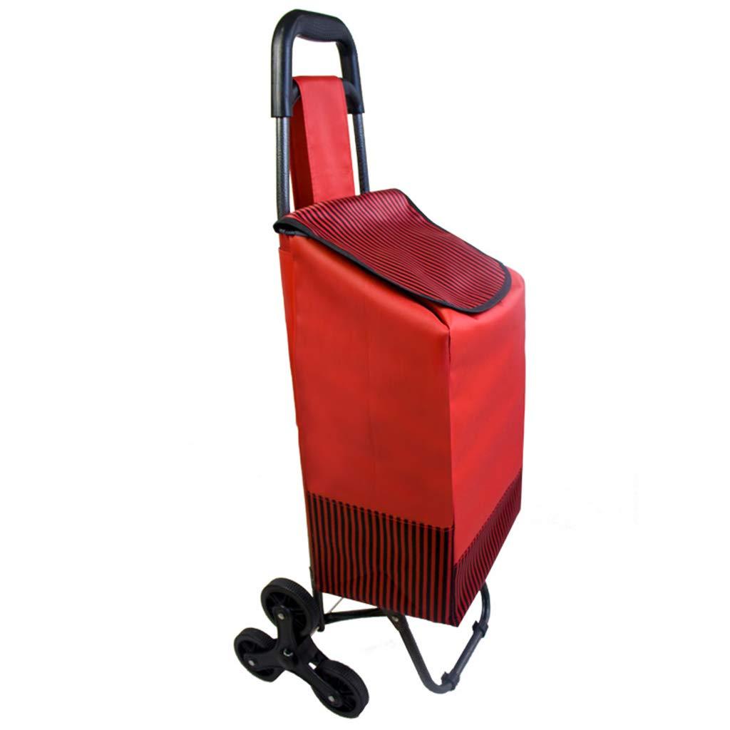 ショッピングカートショッピングカートトロリーカート折りたたみトロリートレーラートロリー荷物ポータブル家庭用小型カート登山階段 (色 : Red and black stripes (six wheels)) B07LCH4BQJ Red and black stripes (six wheels)