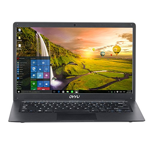 "14.1"" FHD Laptop Computer, Intel Celeron Processor N3350, 4GB RAM 32GB eMMC, Windows 10 Home, SATA HDD Slot, Ethernet Network RG45, Webcam, Wi-Fi, HDMI, Bluetooth, USB 3.0, Black rear - oyyu Ubook7"