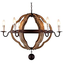 "31.5"" Vintage Rustic Large Quatrefoil Chandelier Pendant Light French Country Wood Metal Wine Barrel Foyer (6 Light Heads) Rustic Iron Ceiling Light Fixture"