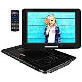 APEMAN Upgraded15'' Portable DVD Player with Swivel Screen Remote Control Support SD Card USB DVD AV in/Out Earphone Speaker 6 Hours Built-in Rechargeable Battery for TV Kids Car Travel Companion
