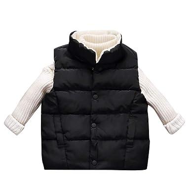 Anxinke Kids Winter Warm Sleeveless Jackets Solid Color Buttons Waistcoats