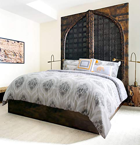 GS Home Textiles Explore Brand - Bombay Printed Comforter Set - 6 Piece - Grey/Taupe/White - Medallion Design - King/Calking Size, Includes 1 Comforter, 2 Shams, 3 Decorative Pillows- Easy Care ()