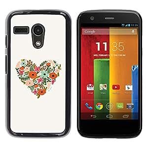 Be Good Phone Accessory // Dura Cáscara cubierta Protectora Caso Carcasa Funda de Protección para Motorola Moto G 1 1ST Gen I X1032 // Heart Floral Birds Spring Nature Beige