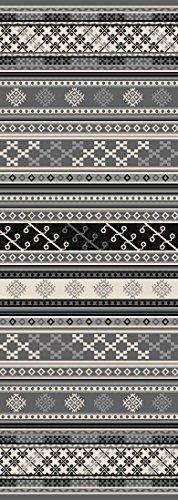 Kapaqua Custom Size Grey Turkish Kilim Rubber Backed Non-Slip Hallway Stair Runner Rug Carpet 22 inch Wide Choose Your Length 22in X 9ft -