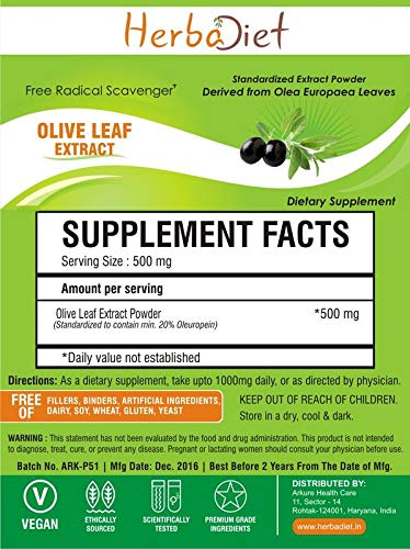 Pure Olive Leaf Extract Powder 20% Oleuropein Anti-oxidant Improve Immune System (5 Gram)