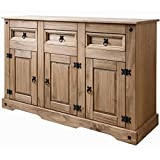 House of Cotswolds Corona Mexican Pine Sideboard 3 Drawers & 3 Doors Rustic Design