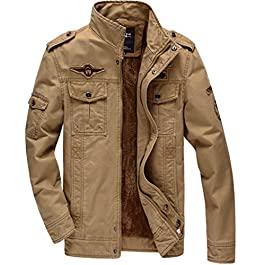 CRYSULLY Men's Winter Cargo Stand Collar Military Thicken Cotton Fleece Jackets Coat