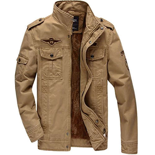CRYSULLY Mens Warm Stylish Cotton Front Zip Cargo Coat Winter Pilot Jacket Fleece Jacket Khaki (Fleece Pilot Jacket)