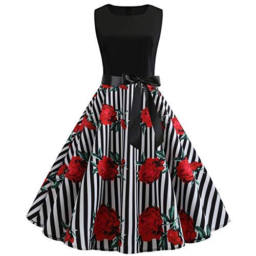 (50s Vintage Elegant Audrey Hepburn Rockabilly Swing Fit Flare Cocktail Prom Special Occasion Party Work Dress for Women Summer/Floral Tea Length Dress (Black Stripped, S/US Size)