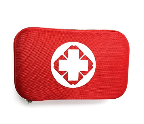 First Aid Kit (18 Kinds 50 Pieces), Marsway Compact Portable Medical Emergency Bag Hard Shell Kits (23*13*5CM) for Car, Home, Travel, Office, School, Camping, Hunting and Sports