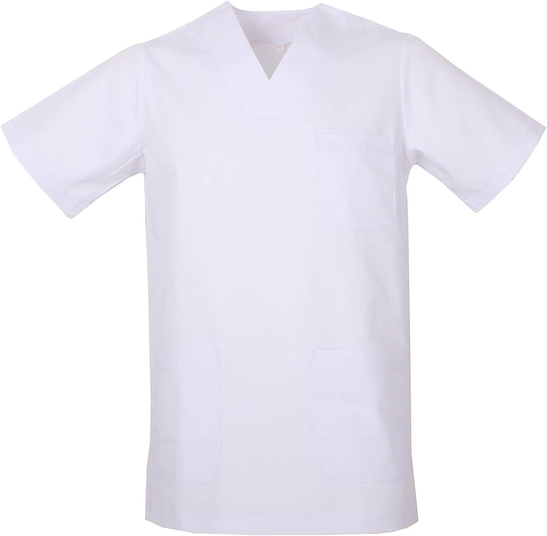 Misemiya Casaca de uniforme sanitario con manga corta, Hombre