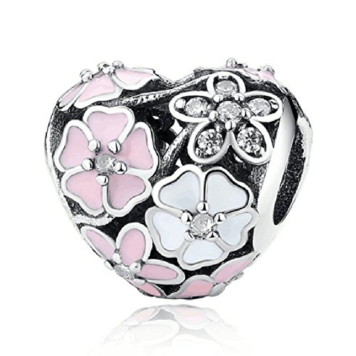 Eternalll Orchid Charms 100% 925 Sterling Silver Pink Enamel Flower Dragonfly Love Heart Bead Charms European Bead fit Pandora Bracelets Beads Crystal Jewelry (Heart Flower Charms)
