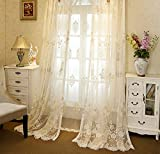 Europe Luxury White Sheer Curtain Panels for Living Room Delicate Embroidery Royal Rustic