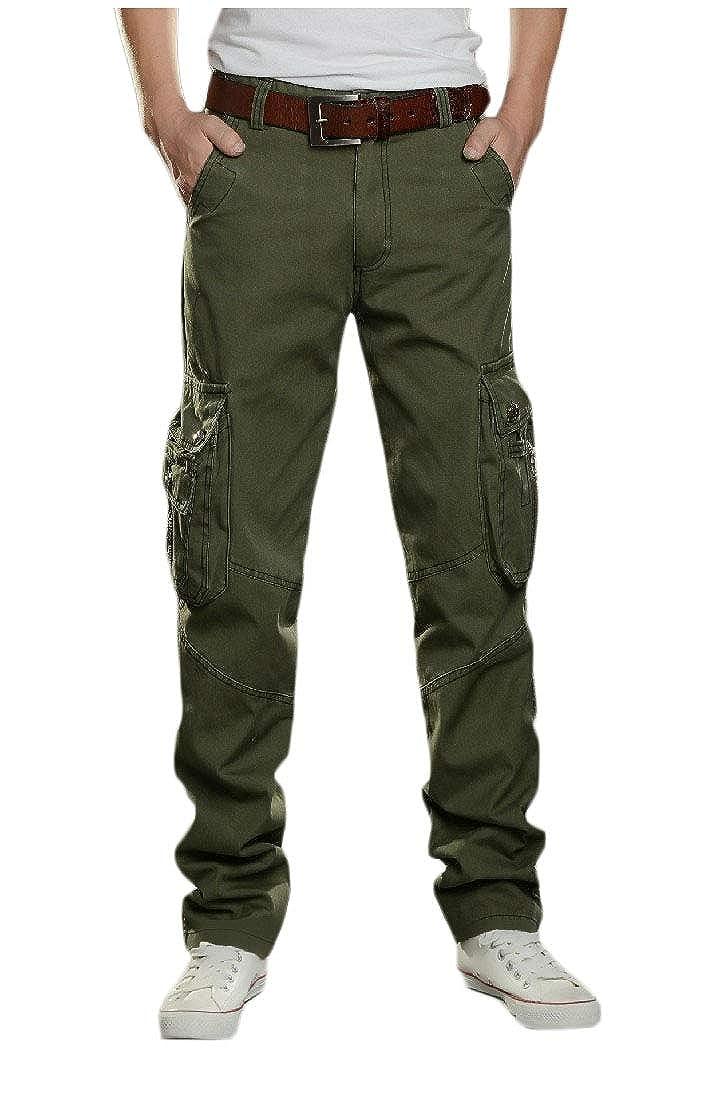 Abetteric Mens Plus-Size Outdoor Casual Sport Pocket High Waist Cargo Pants