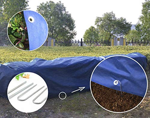 HGmart Heavy Floating Row Cover Kit with Pins Garden Fabric Plant Cover Outdoor Frost Protection Blanket for Winter Frost Cold, 1.5oz,10'×25′,Dark Blue