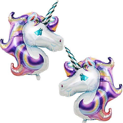 Purple Unicorn Balloons Birthday Backdrop - Large, Pack of 2 | Mylar Foil Balloon Decorations Supplies Kit | Great Unicorn Themed Bday Party Favor, Baby Shower, Home Office Décor