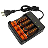 18650 Flat Top 3.7V 2500mAh Lithium Rechargeable Batteries with Fast Li-ion Battery Charger, 4 PACK