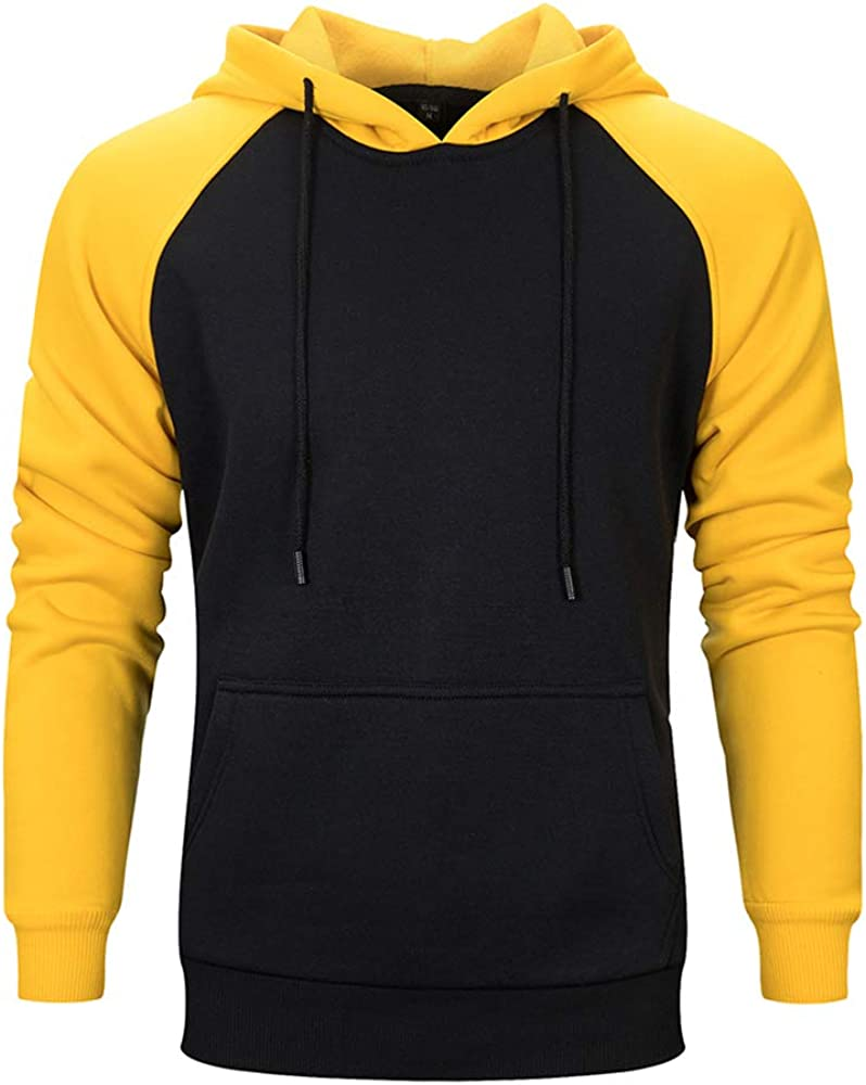 Men's Hoodies Pullover Casual Solid Color Sports Outwear Sweatshirts