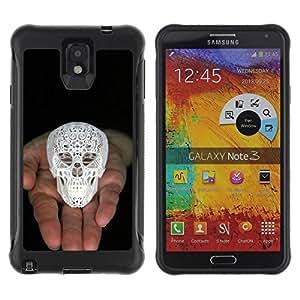Be-Star único patrón Impacto Shock - Absorción y Anti-Arañazos Funda Carcasa Case Bumper Para SAMSUNG Galaxy Note 3 III / N9000 / N9005 ( Skull Printed 3D White Palm Black )