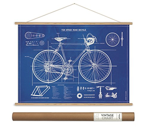 Cavallini Papers & Co., Inc. VPK/BICBP Caviling Vintage Bicycle Blueprint Hanging Poster Kit Vintage Wall Décor, Multi (Vintage Bicycle Poster)
