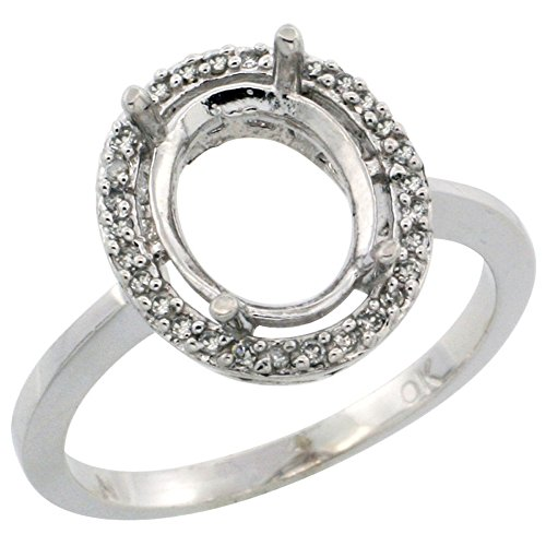 14K White Gold Semi-Mount Ring ( 10x8 mm ) Oval Stone & 0.067 ct Diamond Accents, size 10 - 0.067 Ct Diamond