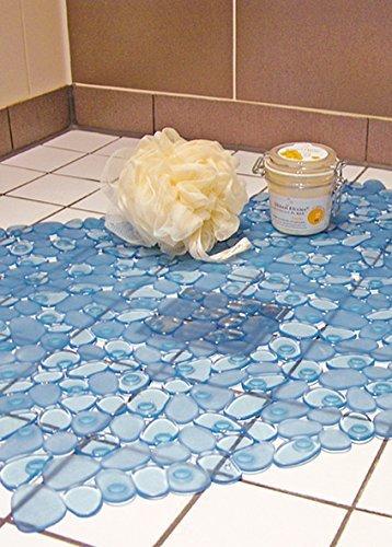 duscheinlage pvc antirutschmatte badewanne dusche duschmatte blau kieselstein design - Antirutschmatte Dusche Rund
