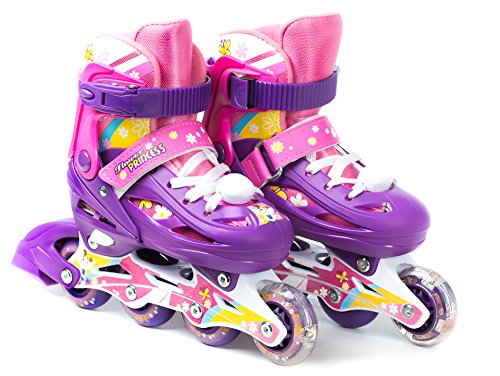 Titan Flower Princess Girls Inline Skates With LED Light-up Front Wheel and LED Laces, Multi-Color, Kid Size Small (Flower Princess Medium Skates)