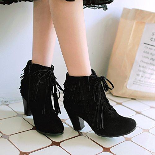AIYOUMEI Ankle Boots Toe Fashion Round Tassel Women's Zipper Winter Block Autumn Black Bootie Heels Wnxn6Pw