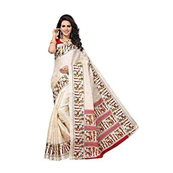 Impresa Enterprise Women s Bhagalpuri Art Silk Sarees With Blouse Peice Off- White Red Color  Amazon.in  Clothing   Accessories c04985b78e