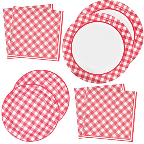 - Red Gingham Party Supplies Tableware Set 50 9
